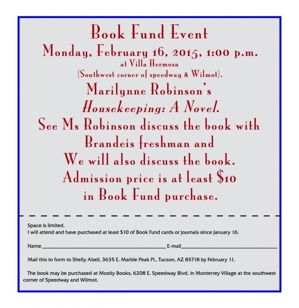 2015 Book Fund Reservation
